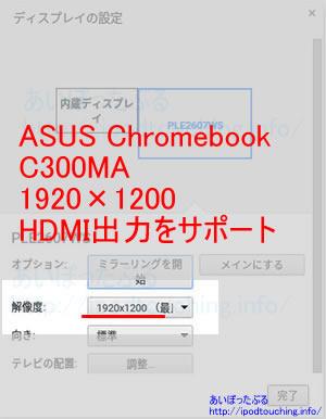 C300MAをHDMI出力設定画面1920×1200