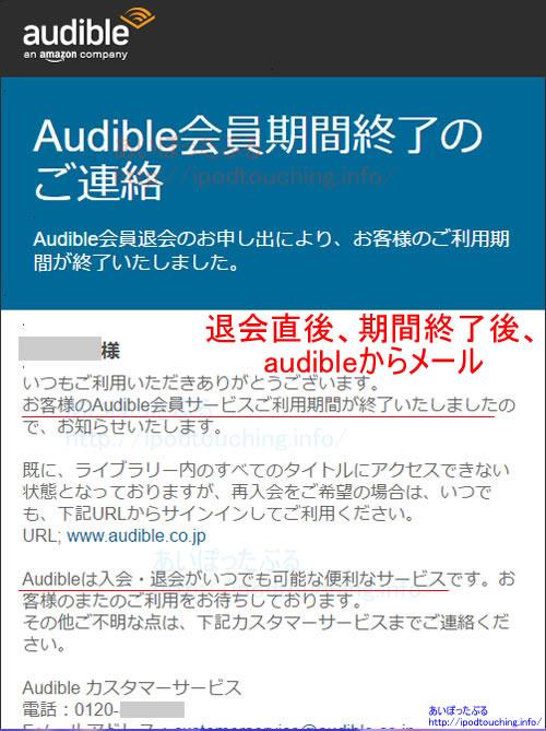 amazon Audible退会後のメール
