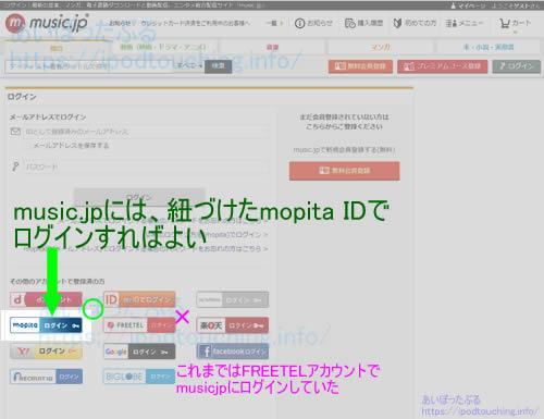music jpログイン画面、mopitaIDでログインすればよい