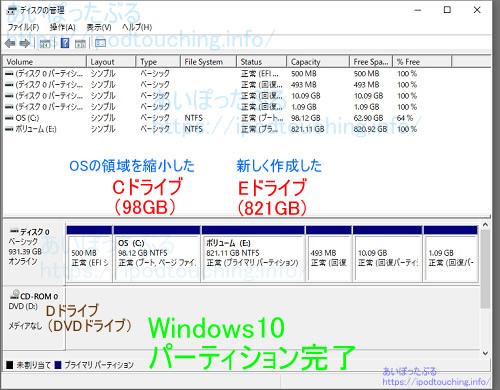 Windows10ディスクの管理、パーティション完了