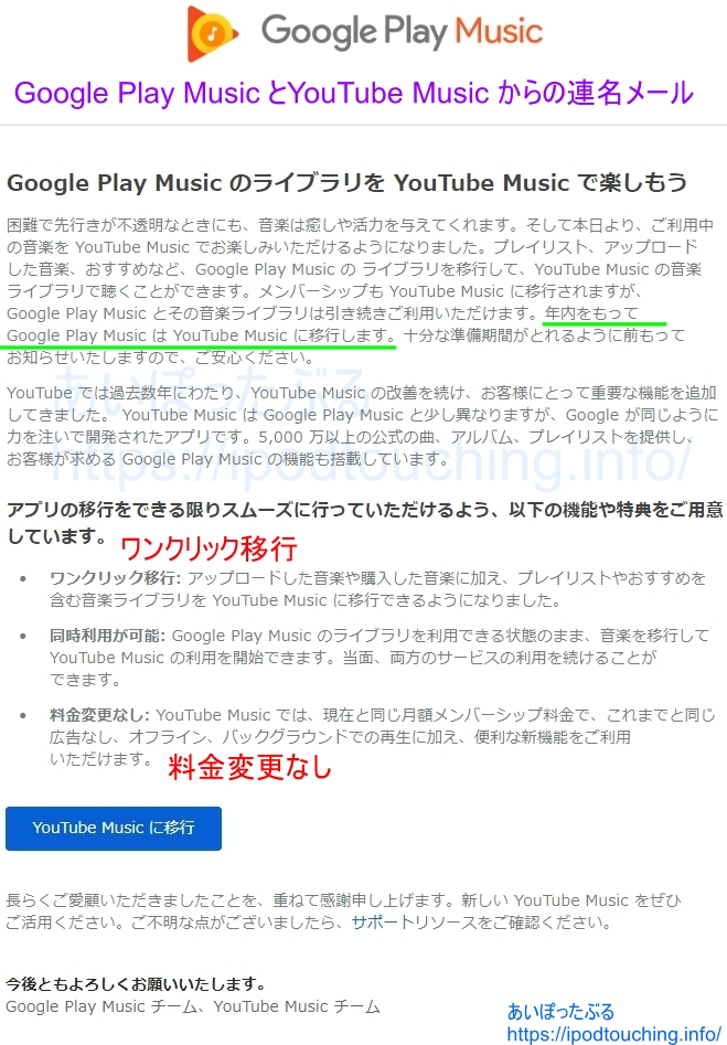Google Play Music と YouTube Music からのメール