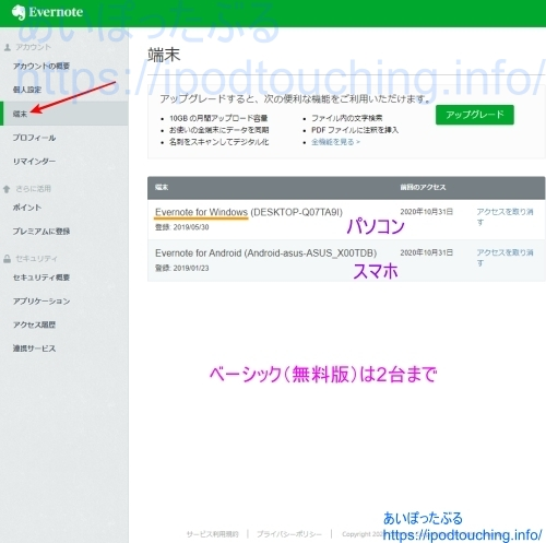 Evernote「端末」アカウント情報